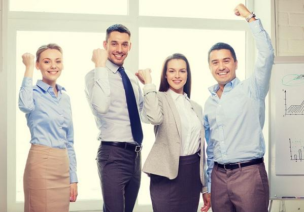 business, office, success and victory concept - happy business t