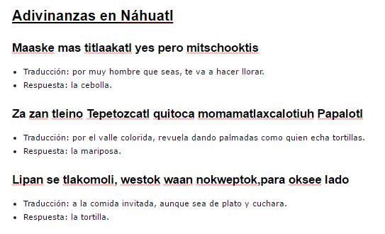 30 Adivinanzas En Nahuatl Traducidas Al Espanol Cortas Lifeder