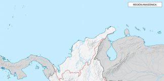 Mapa de la región amazónica de Colombia