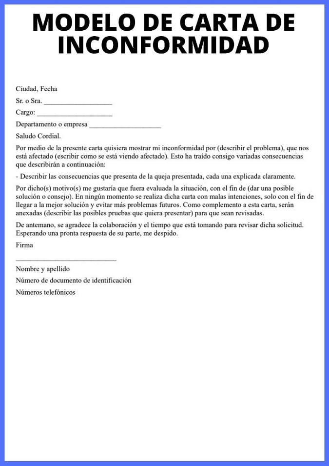 Carta De Inconformidad Cómo Redactarla Y Modelo