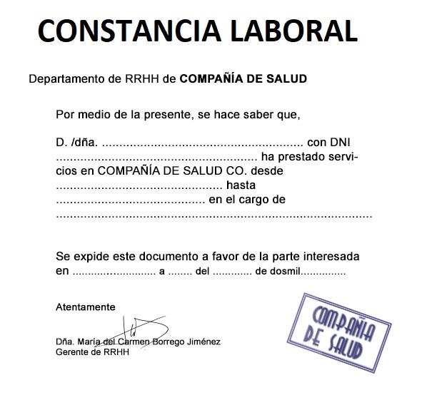 Ejemplo De Constancia Laboral